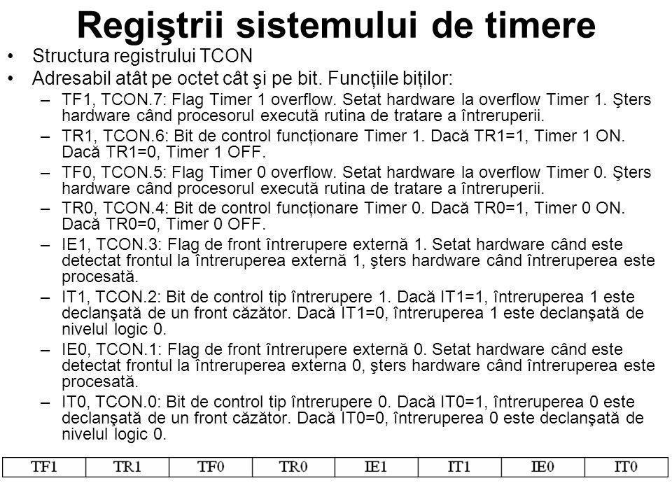 Regiştrii sistemului de timere Structura registrului TCON Adresabil atât pe octet cât şi pe bit.