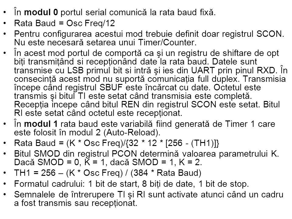 În modul 0 portul serial comunică la rata baud fixă.