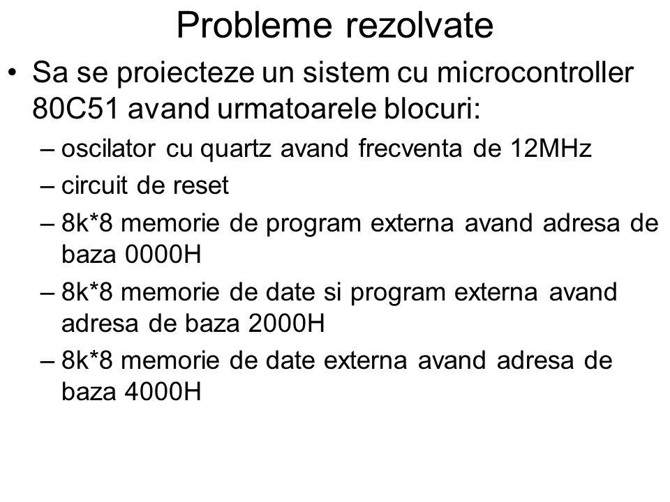 Probleme rezolvate Sa se proiecteze un sistem cu microcontroller 80C51 avand urmatoarele blocuri: –oscilator cu quartz avand frecventa de 12MHz –circuit de reset –8k*8 memorie de program externa avand adresa de baza 0000H –8k*8 memorie de date si program externa avand adresa de baza 2000H –8k*8 memorie de date externa avand adresa de baza 4000H