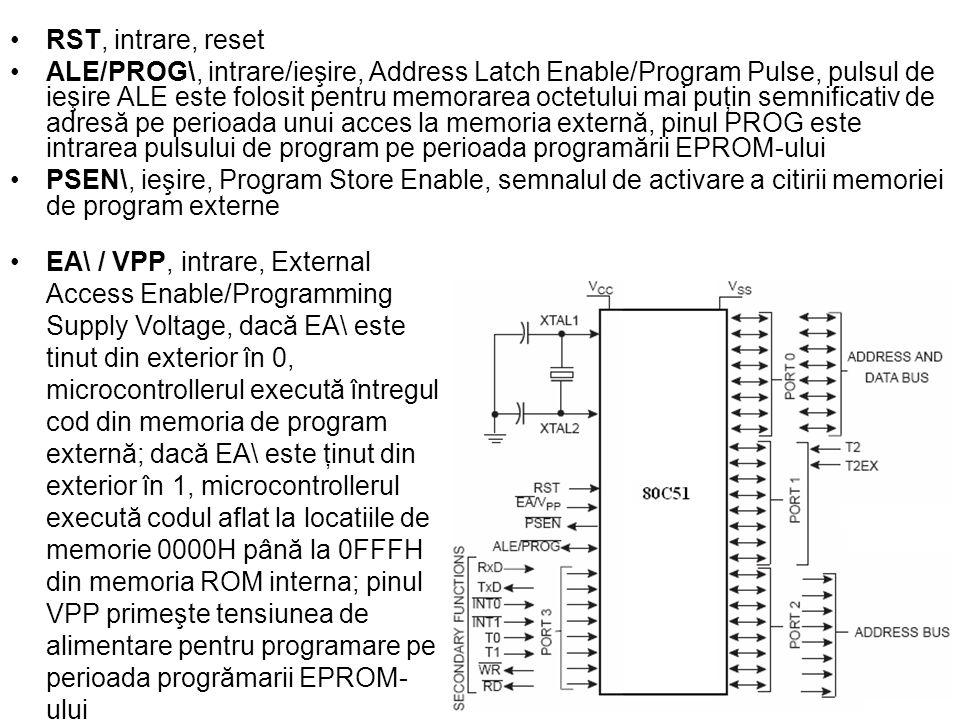 RST, intrare, reset ALE/PROG\, intrare/ieşire, Address Latch Enable/Program Pulse, pulsul de ieşire ALE este folosit pentru memorarea octetului mai puţin semnificativ de adresă pe perioada unui acces la memoria externă, pinul PROG este intrarea pulsului de program pe perioada programării EPROM-ului PSEN\, ieşire, Program Store Enable, semnalul de activare a citirii memoriei de program externe EA\ / VPP, intrare, External Access Enable/Programming Supply Voltage, dacă EA\ este tinut din exterior în 0, microcontrollerul execută întregul cod din memoria de program externă; dacă EA\ este ţinut din exterior în 1, microcontrollerul execută codul aflat la locatiile de memorie 0000H până la 0FFFH din memoria ROM interna; pinul VPP primeşte tensiunea de alimentare pentru programare pe perioada progrămarii EPROM- ului