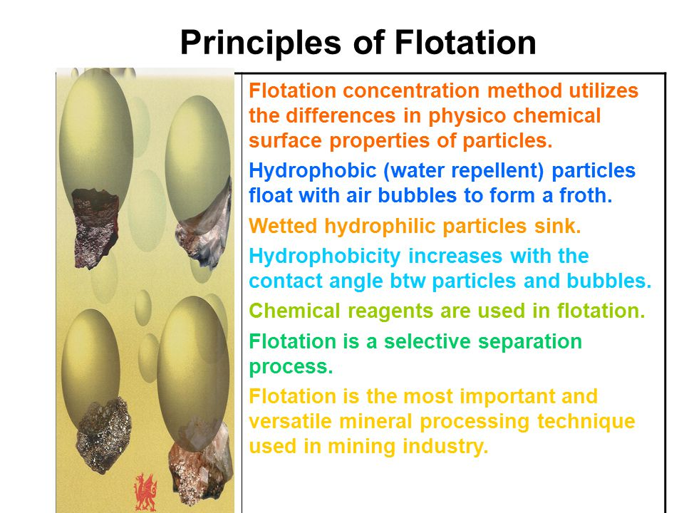 Principles of Flotation Flotation concentration method utilizes the differences in physico chemical surface properties of particles.