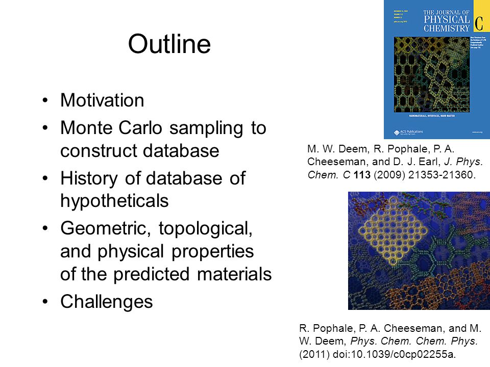 Motivation & Goals Create database of hypothetical zeolite (SiO 2 ) structures Structures should have favorable framework energies Screen for materials with unique properties to identify interesting synthetic targets –Catalysis, sorption, k ∞ Identify synthesis conditions (hard problem!) LTLEMTVFI