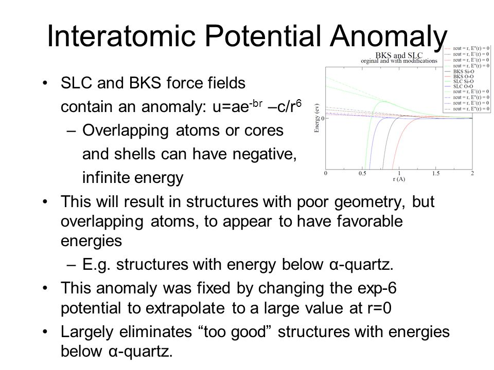 Interatomic Potential Anomaly SLC and BKS force fields contain an anomaly: u=ae -br –c/r 6 –Overlapping atoms or cores and shells can have negative, i