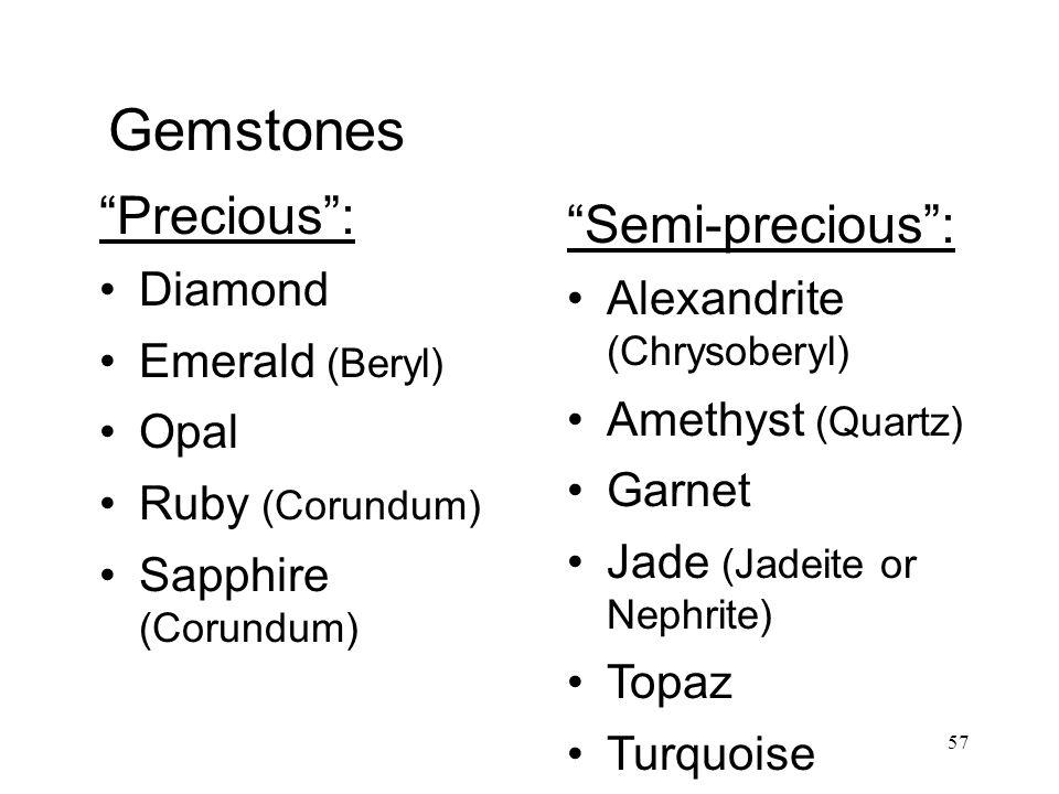 57 Gemstones Precious : Diamond Emerald (Beryl) Opal Ruby (Corundum) Sapphire (Corundum) Semi-precious : Alexandrite (Chrysoberyl) Amethyst (Quartz) Garnet Jade (Jadeite or Nephrite) Topaz Turquoise