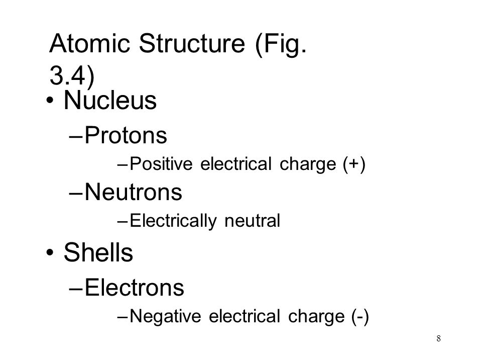 8 Atomic Structure (Fig. 3.4) Nucleus –Protons –Positive electrical charge (+) –Neutrons –Electrically neutral Shells –Electrons –Negative electrical