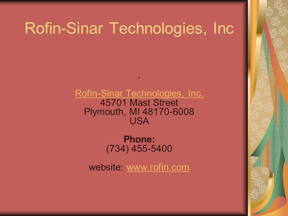 Rofin-Sinar Technologies, Inc. Rofin-Sinar Technologies, Inc.