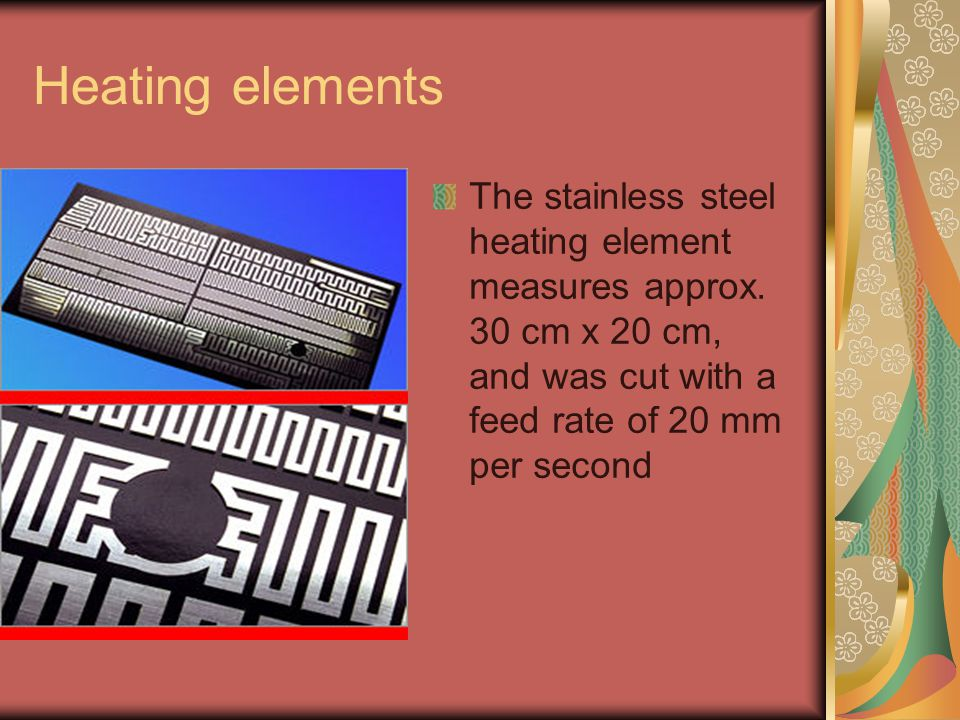 Heating elements The stainless steel heating element measures approx.