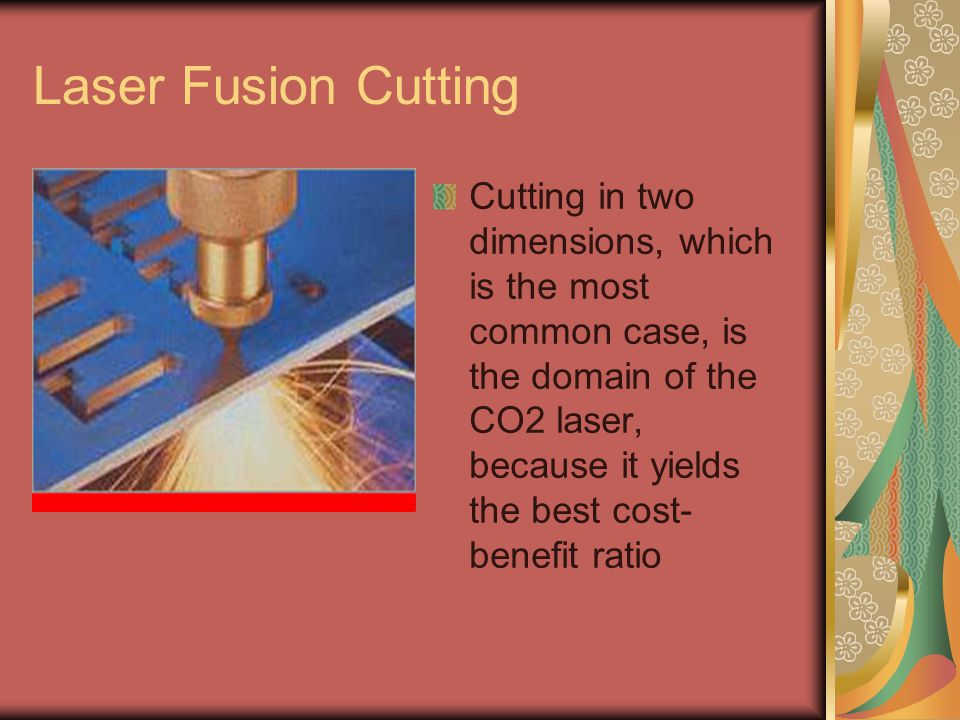 PMMA As a rule, CO2 lasers with Galvanometer- driven deflector heads are used for fine cutting of PMMA.