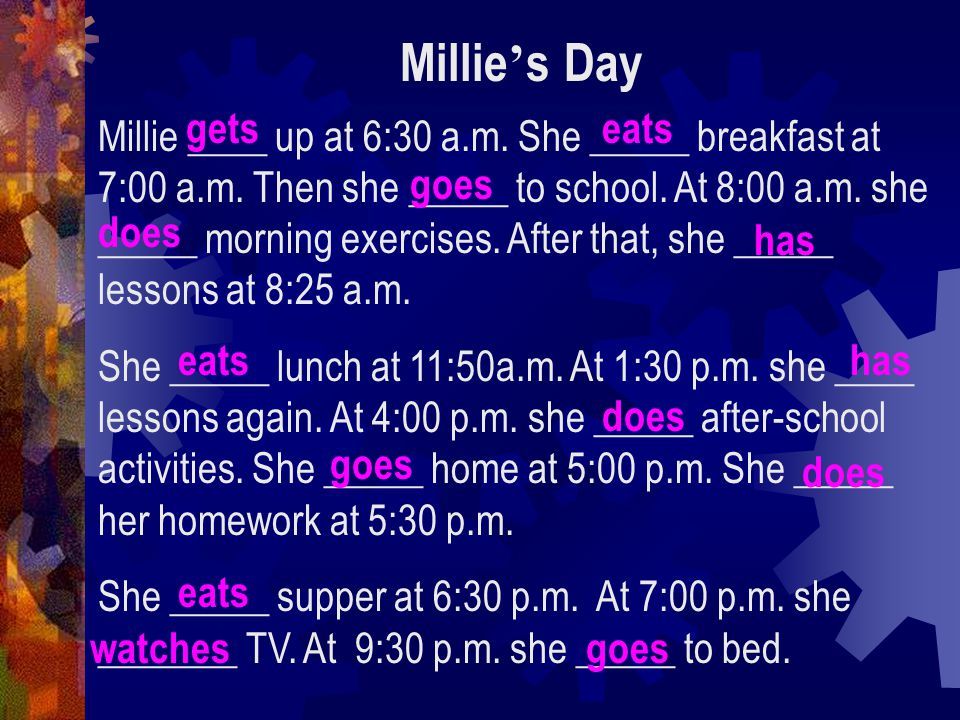 Millie's day 9:30 p.m. go to bed
