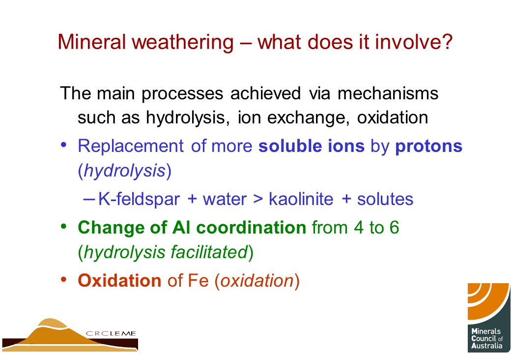 Mineral weathering – what does it involve.
