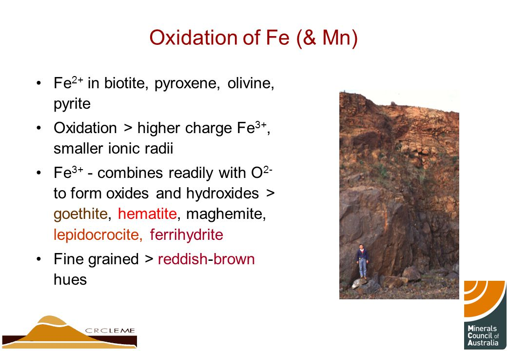 Oxidation of Fe (& Mn) Fe 2+ in biotite, pyroxene, olivine, pyrite Oxidation > higher charge Fe 3+, smaller ionic radii Fe 3+ - combines readily with O 2- to form oxides and hydroxides > goethite, hematite, maghemite, lepidocrocite, ferrihydrite Fine grained > reddish-brown hues