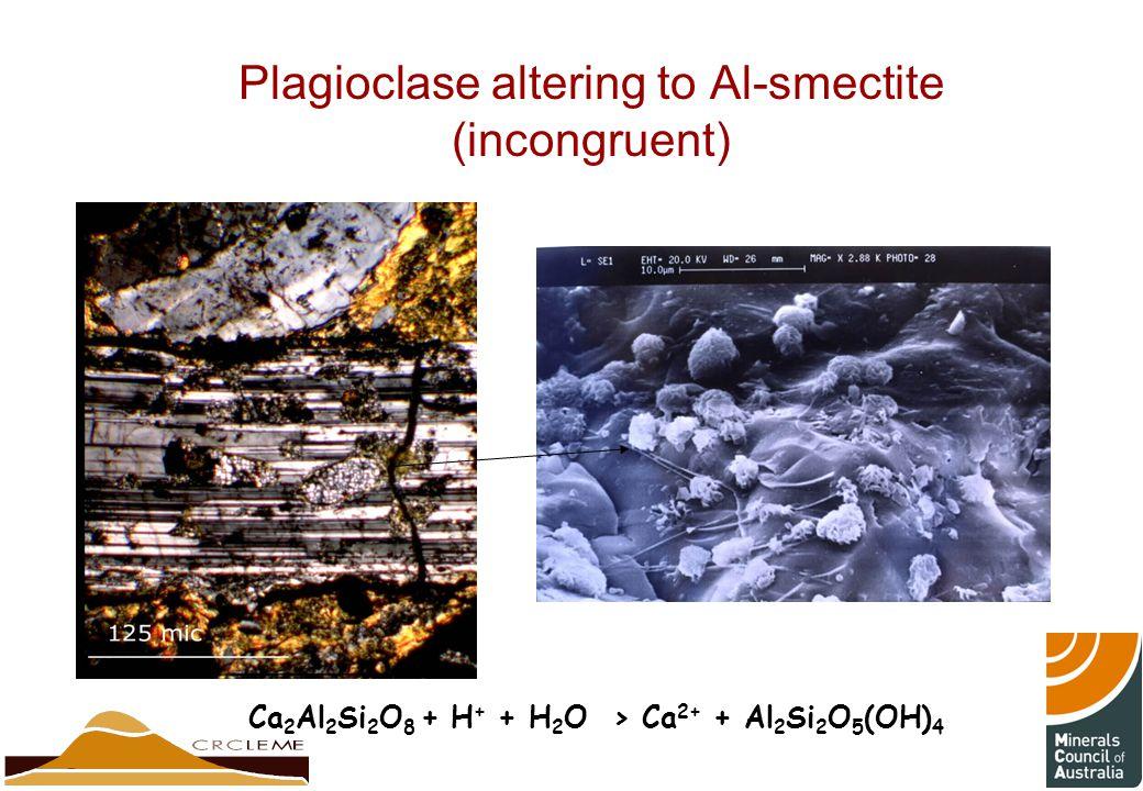 Plagioclase altering to Al-smectite (incongruent) Ca 2 Al 2 Si 2 O 8 + H + + H 2 O > Ca 2+ + Al 2 Si 2 O 5 (OH) 4