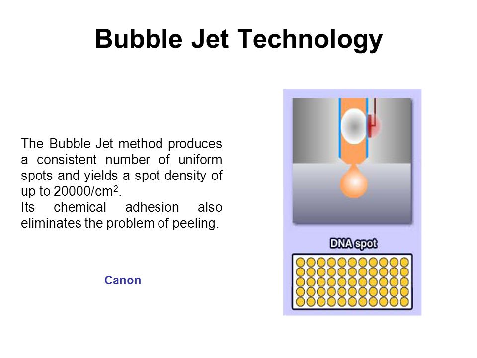 Bubble Jet Technology The Bubble Jet method produces a consistent number of uniform spots and yields a spot density of up to 20000/cm 2.