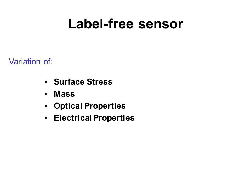 Label-free sensor Surface Stress Mass Optical Properties Electrical Properties Variation of: