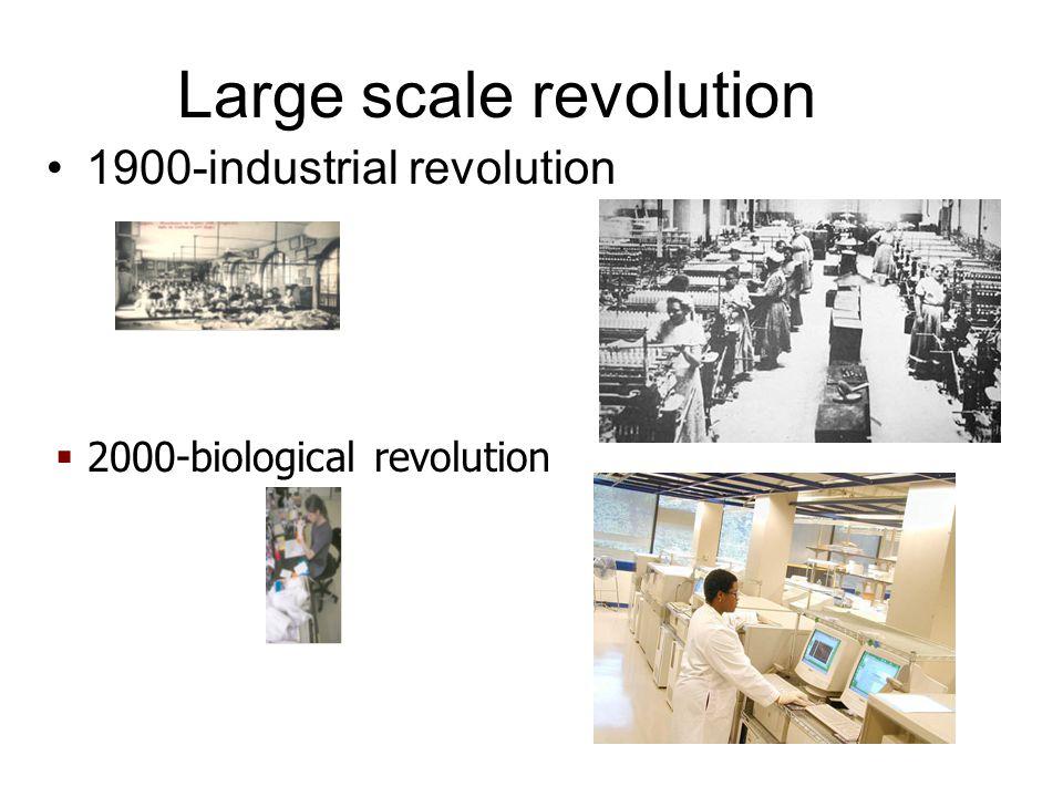 Large scale revolution 1900-industrial revolution  2000-biological revolution