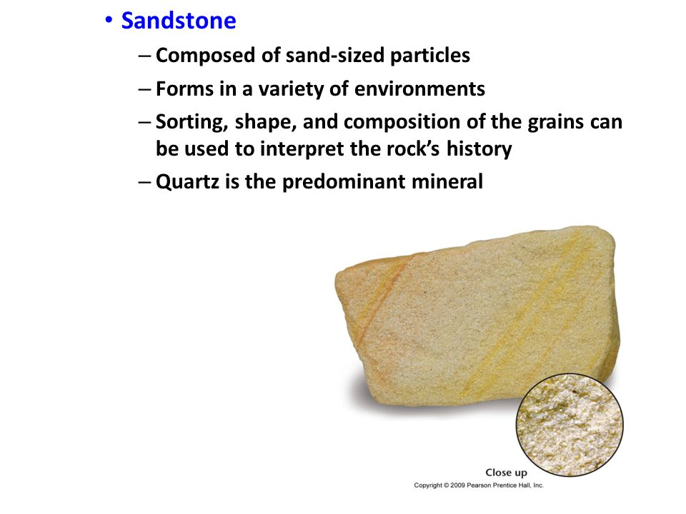 Sandstone – Composed of sand-sized particles – Forms in a variety of environments – Sorting, shape, and composition of the grains can be used to interpret the rock's history – Quartz is the predominant mineral