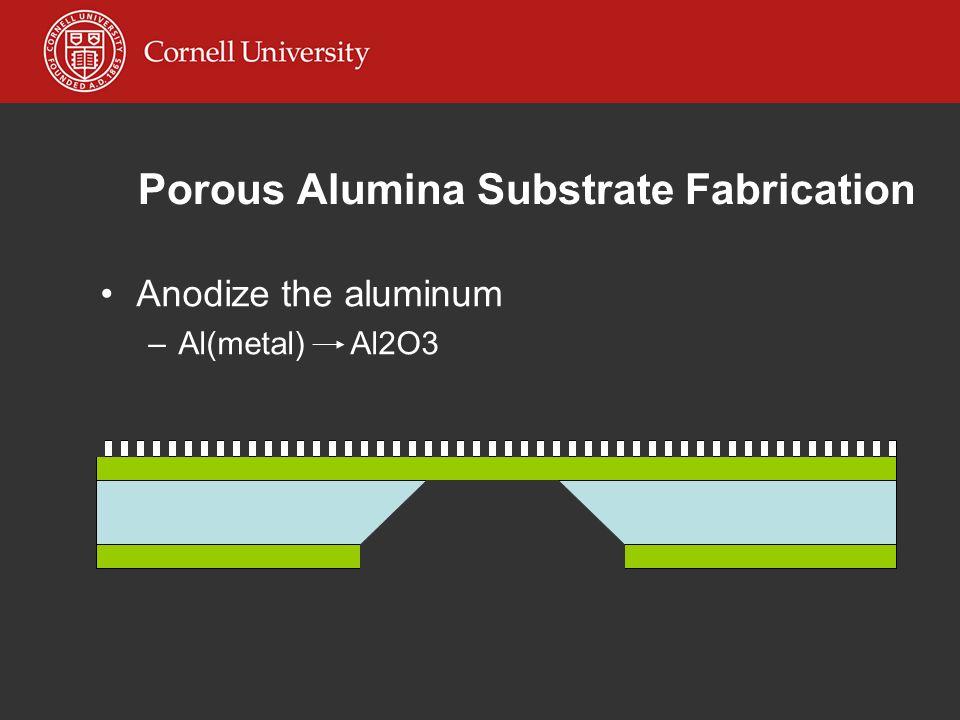 Porous Alumina Substrate Fabrication Anodize the aluminum –Al(metal) Al2O3
