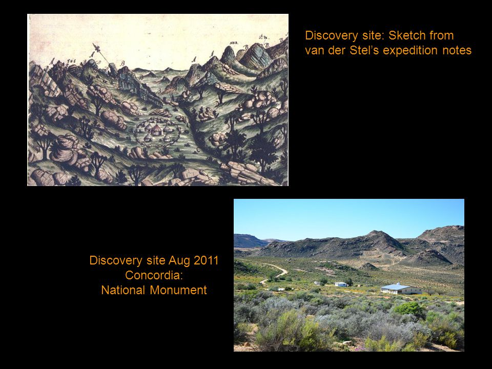 Discovery site Aug 2011 Concordia: National Monument Discovery site: Sketch from van der Stel's expedition notes