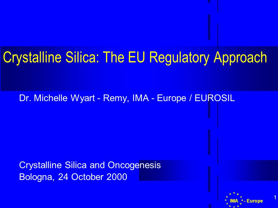 1 Crystalline Silica: The EU Regulatory Approach Dr.