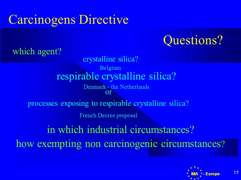 15 - EuropeIMA Carcinogens Directive in which industrial circumstances.
