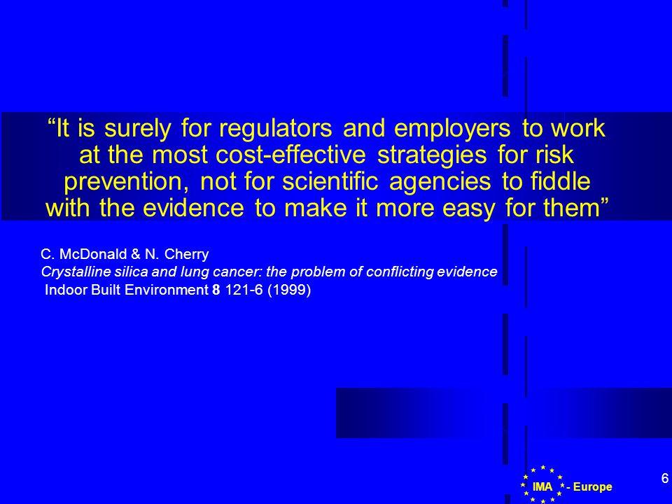 7 Possible regulatory scenarios in the EU IARC + Scientific Evidence Classification Workers Protection EU DG Environment EU DG Employment & Social Affairs Member States - EuropeIMA