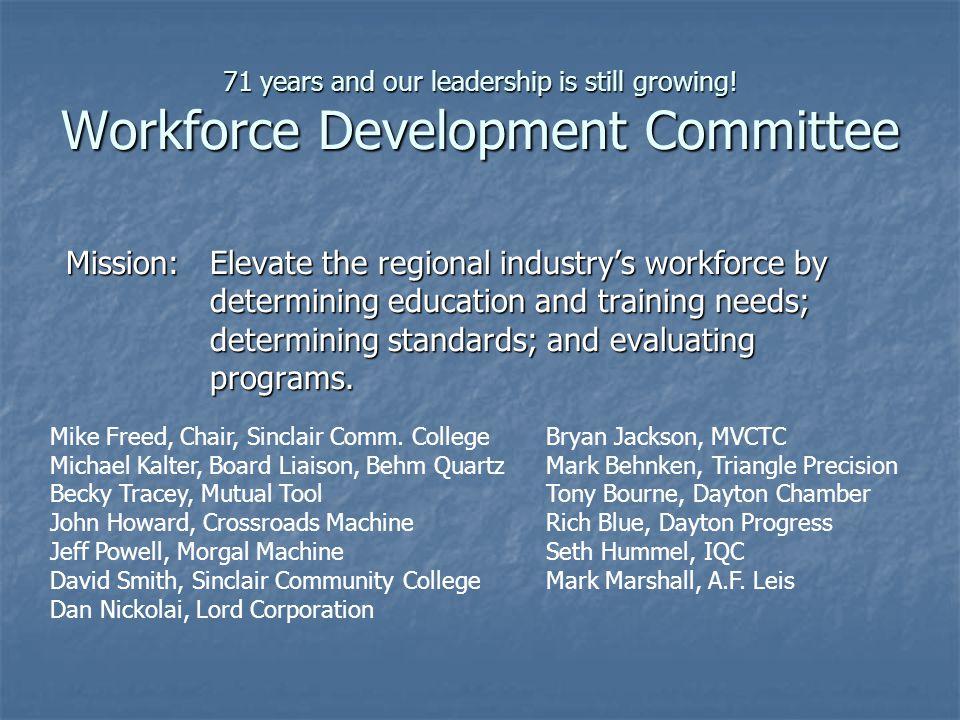 71 years and our leadership is still growing! Workforce Development Committee Mission:Elevate the regional industry's workforce by determining educati