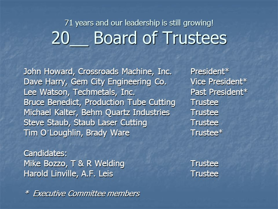 71 years and our leadership is still growing! 20__ Board of Trustees John Howard, Crossroads Machine, Inc.President* Dave Harry, Gem City Engineering