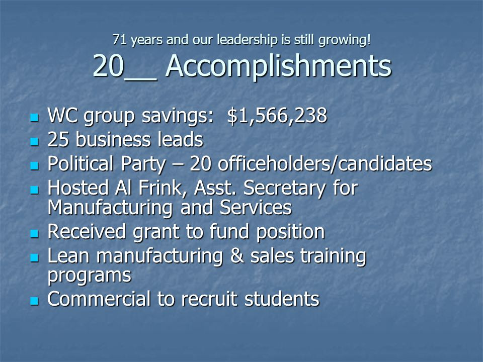 71 years and our leadership is still growing! 20__ Accomplishments WC group savings: $1,566,238 WC group savings: $1,566,238 25 business leads 25 busi