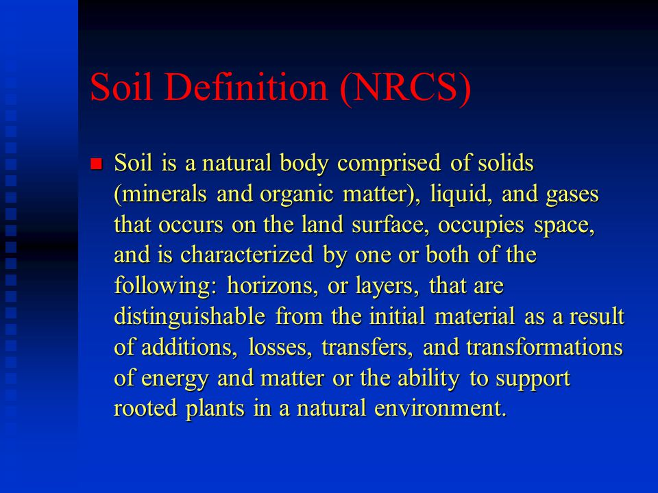 Sand n Low specific surface area n Sand has less nutrients for plants than smaller particles n Voids between sand particles promote free drainage and entry of air n Holds little water and prone to drought