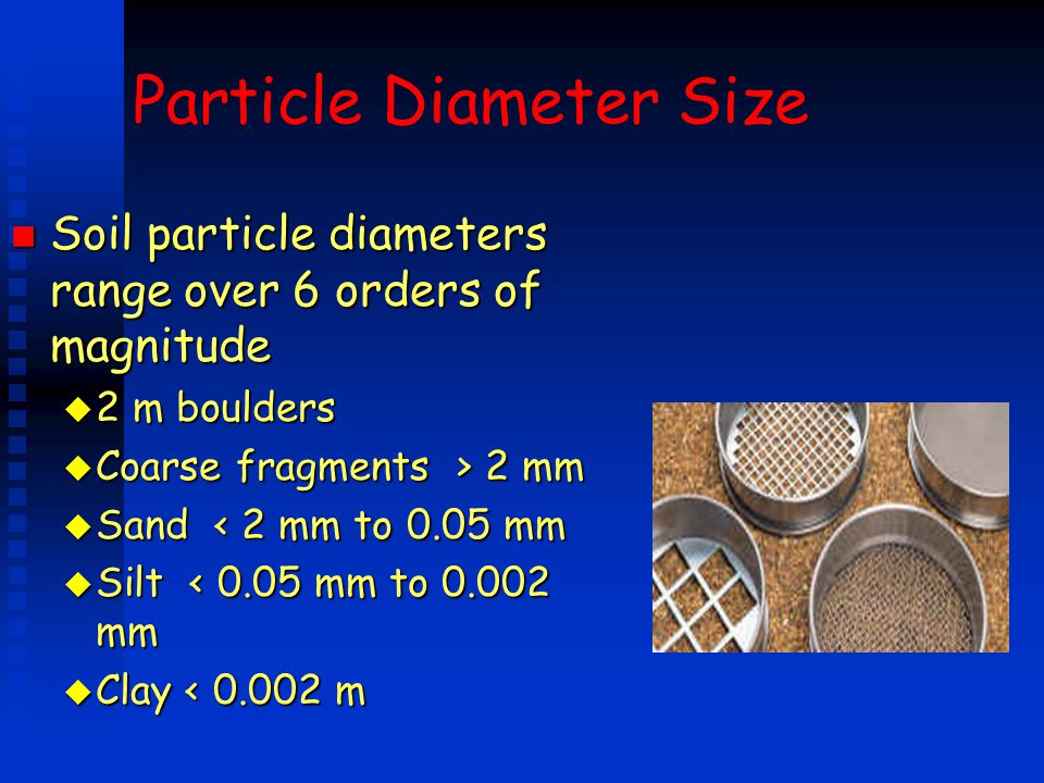 Particle Diameter Size n Soil particle diameters range over 6 orders of magnitude u 2 m boulders u Coarse fragments > 2 mm u Sand < 2 mm to 0.05 mm u