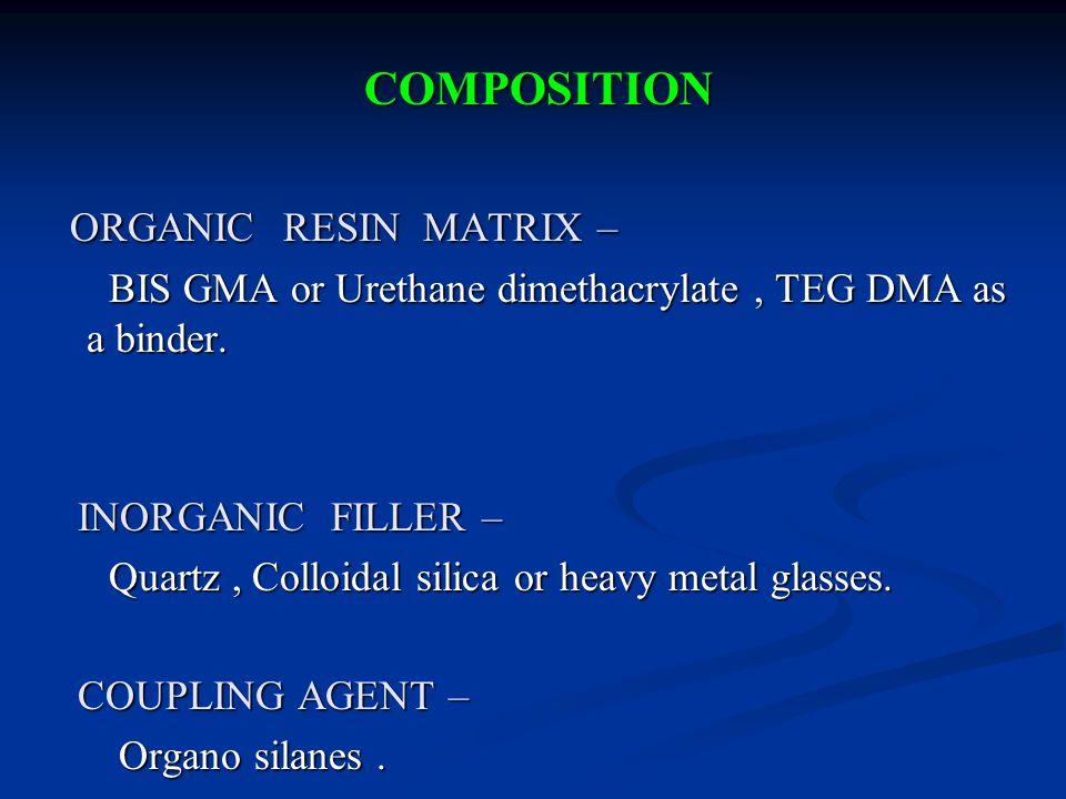 COMPOSITION COMPOSITION ORGANIC RESIN MATRIX – ORGANIC RESIN MATRIX – BIS GMA or Urethane dimethacrylate, TEG DMA as a binder.