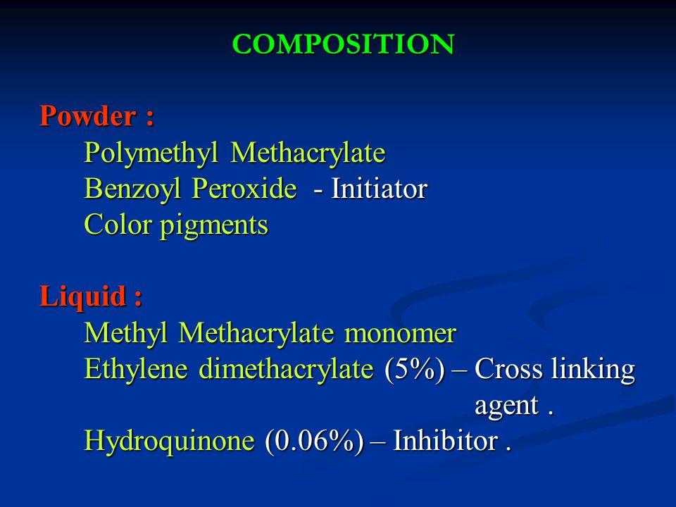 COMPOSITION Powder : Powder : Polymethyl Methacrylate Polymethyl Methacrylate Benzoyl Peroxide - Initiator Benzoyl Peroxide - Initiator Color pigments Color pigments Liquid : Liquid : Methyl Methacrylate monomer Methyl Methacrylate monomer Ethylene dimethacrylate (5%) – Cross linking Ethylene dimethacrylate (5%) – Cross linking agent.