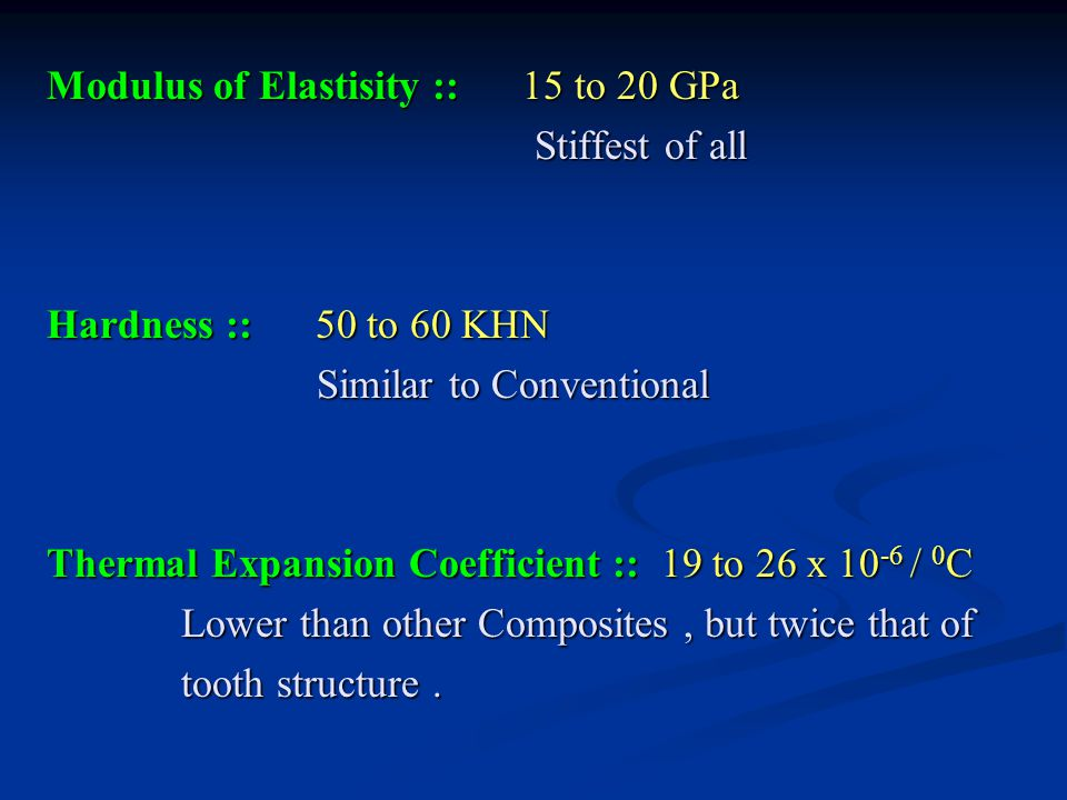 Modulus of Elastisity :: 15 to 20 GPa Stiffest of all Stiffest of all Hardness :: 50 to 60 KHN Similar to Conventional Similar to Conventional Thermal Expansion Coefficient :: 19 to 26 x 10 -6 / 0 C Lower than other Composites, but twice that of Lower than other Composites, but twice that of tooth structure.