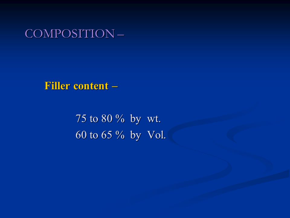 COMPOSITION – Filler content – Filler content – 75 to 80 % by wt.