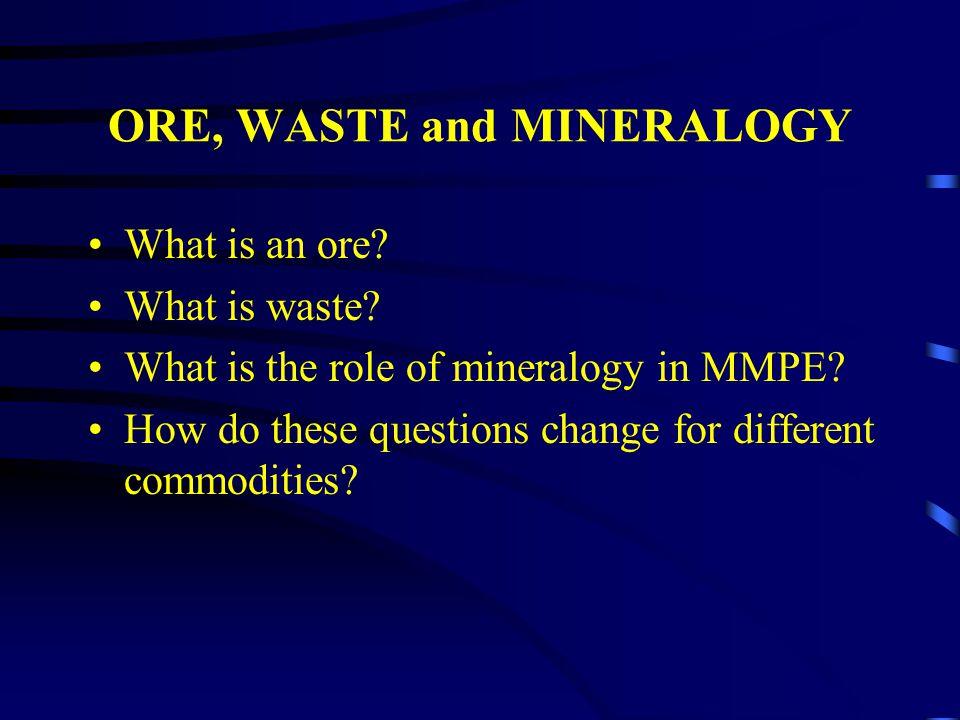 Lead/Zinc Ores Ore Types: Pb/Zn:galena, sphalerite and pyrite Cu/Pb:chalcopyrite, galena and pyrite.