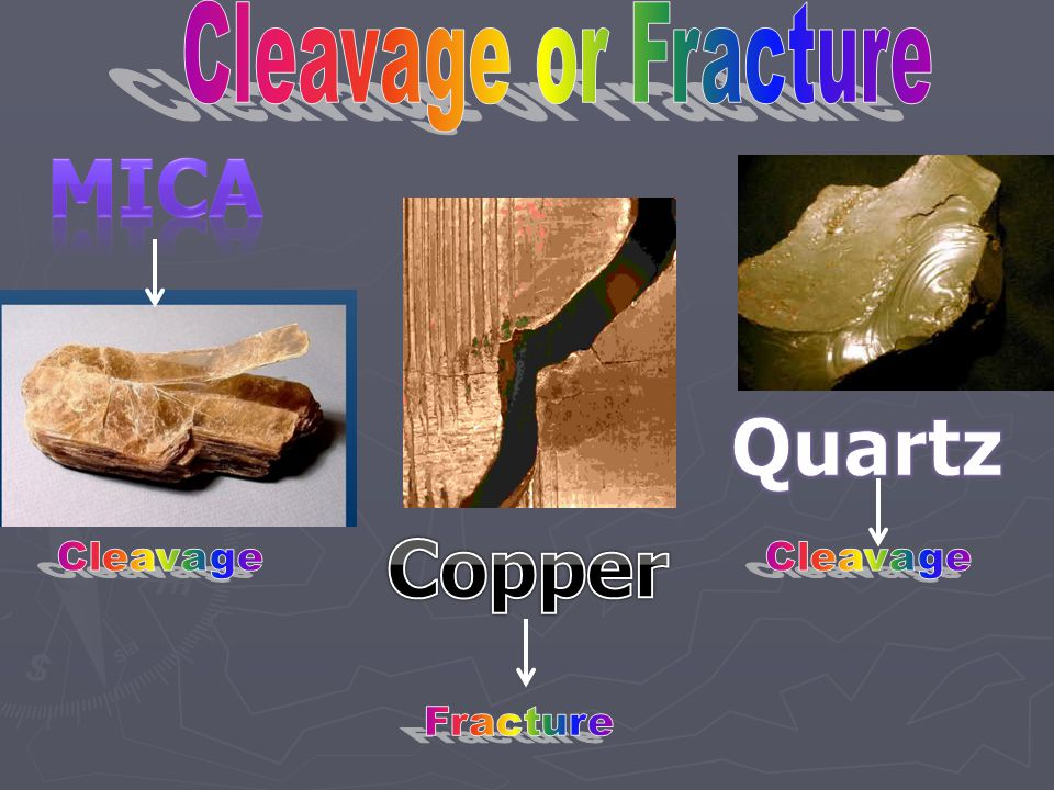 ► Not all minerals show cleavage. ► Those that don't break along cleavage surfaces are said to have fracture. ► Minerals break in irregular way.