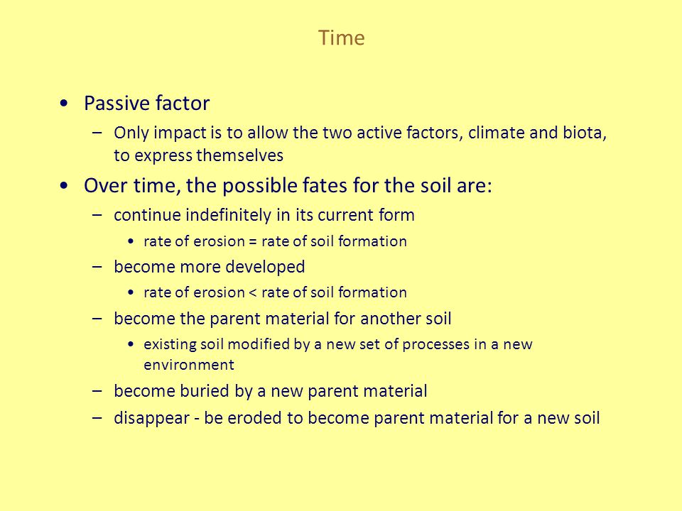Time Passive factor –Only impact is to allow the two active factors, climate and biota, to express themselves Over time, the possible fates for the so