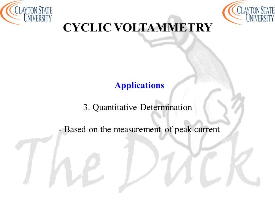 Applications 3. Quantitative Determination - Based on the measurement of peak current CYCLIC VOLTAMMETRY