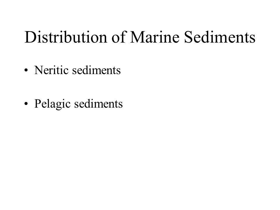 Distribution of Marine Sediments Neritic sediments Pelagic sediments