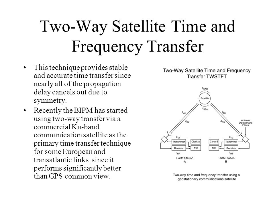 Two-Way Satellite Time and Frequency Transfer This technique provides stable and accurate time transfer since nearly all of the propagation delay cancels out due to symmetry.