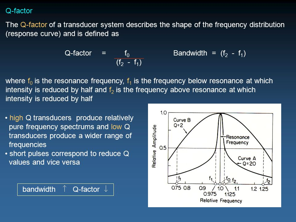 Q-factor The Q-factor of a transducer system describes the shape of the frequency distribution (response curve) and is defined as where f 0 is the resonance frequency, f 1 is the frequency below resonance at which intensity is reduced by half and f 2 is the frequency above resonance at which intensity is reduced by half Q-factor = f 0 (f 2 - f 1 ) Bandwidth = (f 2 - f 1 ) high Q transducers produce relatively pure frequency spectrums and low Q transducers produce a wider range of frequencies short pulses correspond to reduce Q values and vice versa bandwidth  Q-factor 