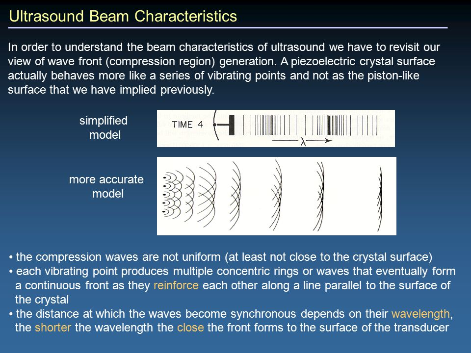 Ultrasound Beam Characteristics In order to understand the beam characteristics of ultrasound we have to revisit our view of wave front (compression region) generation.
