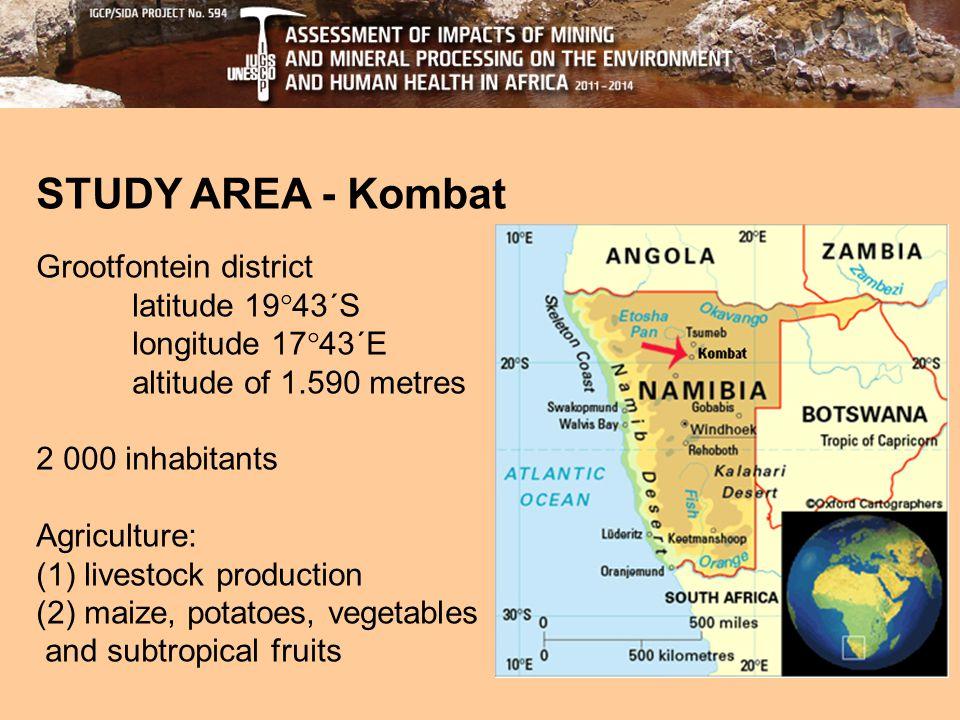 STUDY AREA - Kombat Grootfontein district latitude 19  43´S longitude 17  43´E altitude of 1.590 metres 2 000 inhabitants Agriculture: (1) livestock production (2) maize, potatoes, vegetables and subtropical fruits