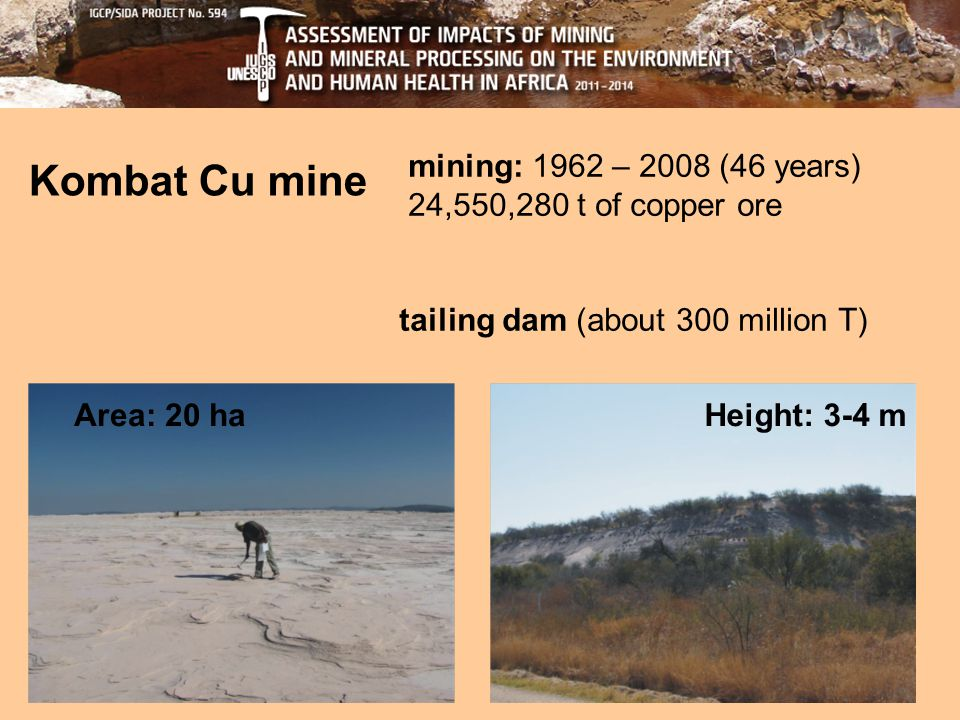 Kombat Cu mine mining: 1962 – 2008 (46 years) 24,550,280 t of copper ore tailing dam (about 300 million T) Area: 20 haHeight: 3-4 m