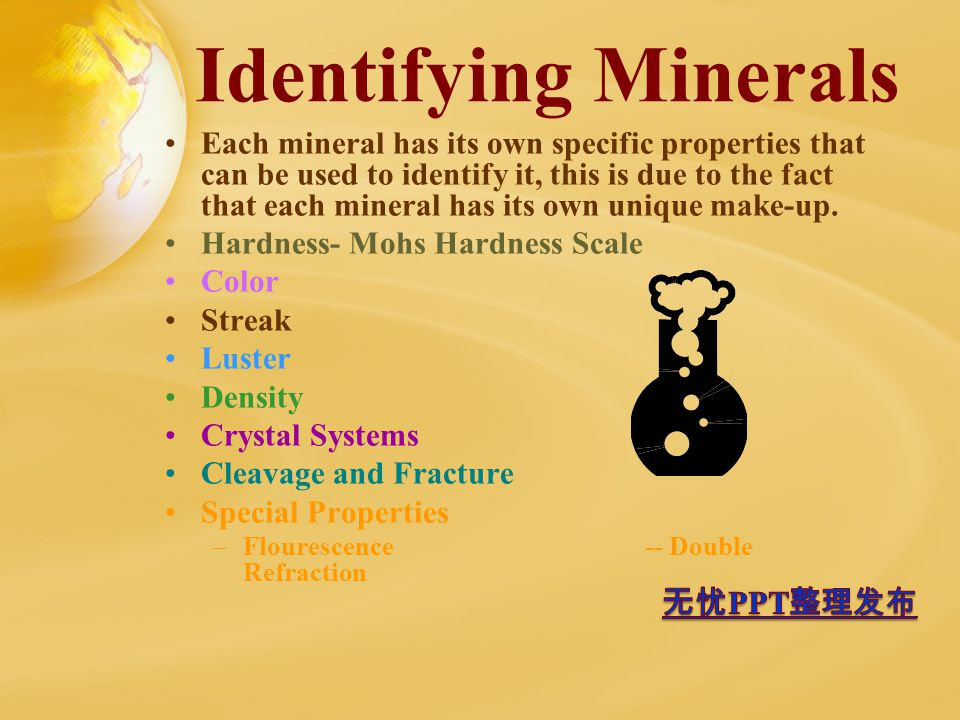Identifying Minerals Each mineral has its own specific properties that can be used to identify it, this is due to the fact that each mineral has its own unique make-up.