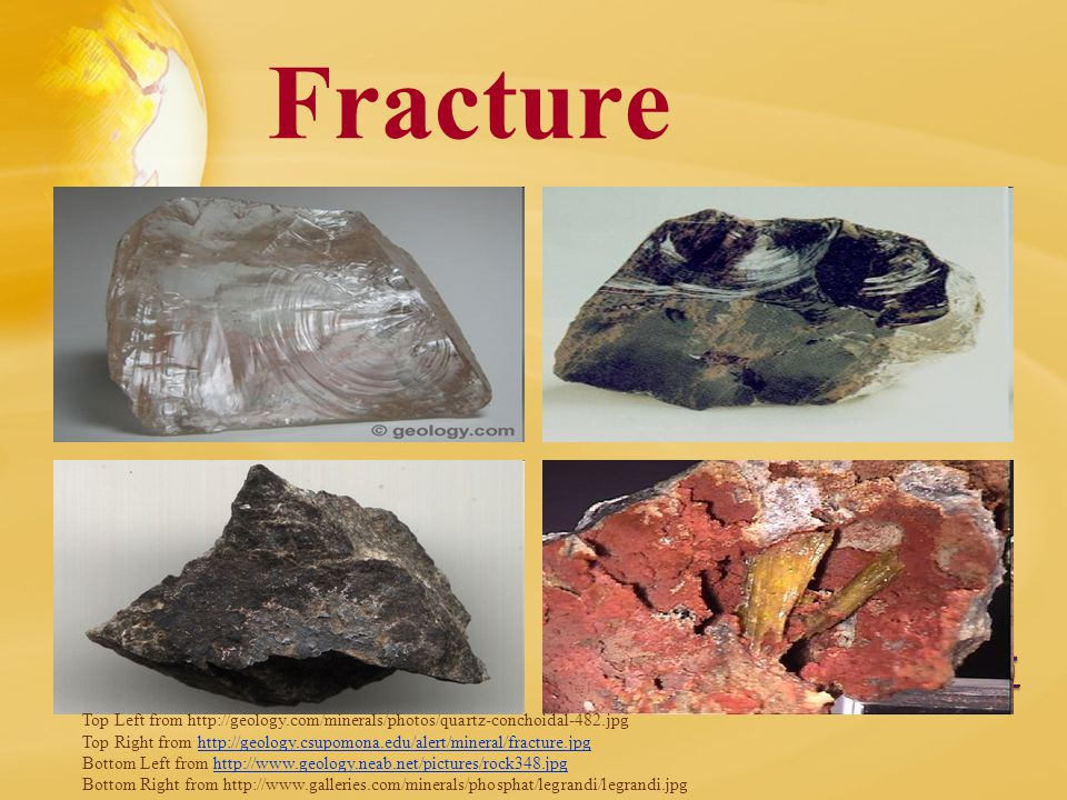 Fracture Top Left from http://geology.com/minerals/photos/quartz-conchoidal-482.jpg Top Right from http://geology.csupomona.edu/alert/mineral/fracture.jpghttp://geology.csupomona.edu/alert/mineral/fracture.jpg Bottom Left from http://www.geology.neab.net/pictures/rock348.jpghttp://www.geology.neab.net/pictures/rock348.jpg Bottom Right from http://www.galleries.com/minerals/phosphat/legrandi/legrandi.jpg