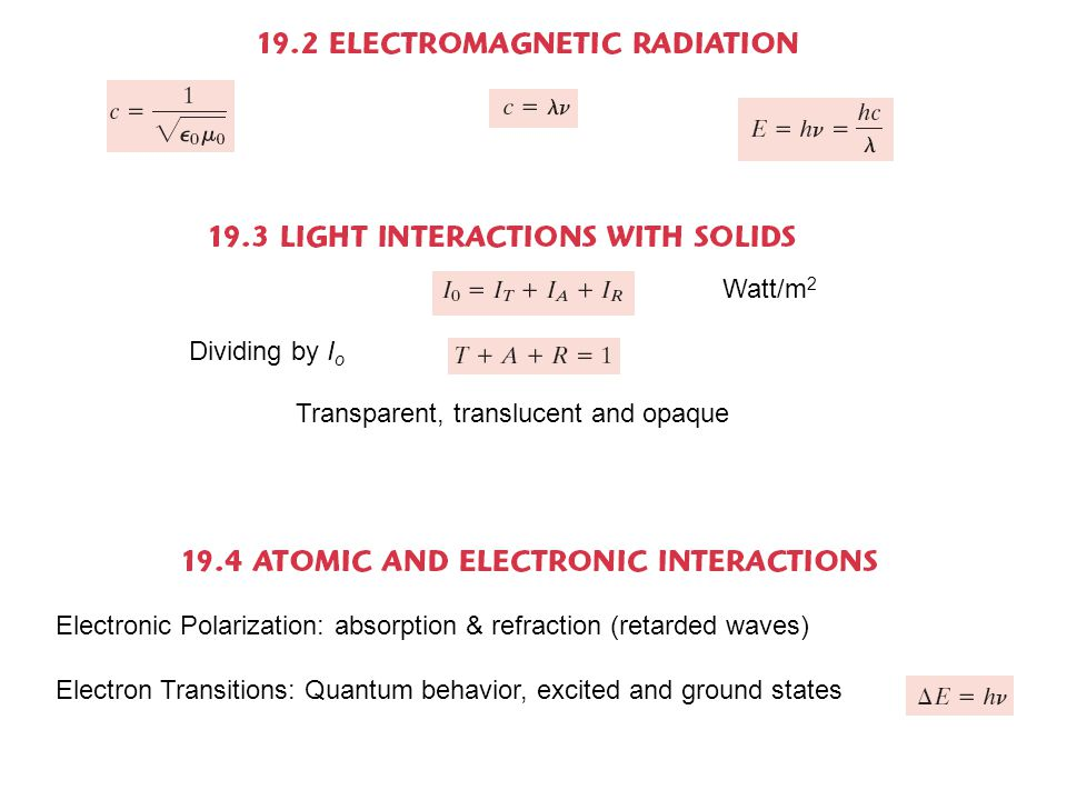 Watt/m 2 Dividing by I o Transparent, translucent and opaque Electronic Polarization: absorption & refraction (retarded waves) Electron Transitions: Quantum behavior, excited and ground states
