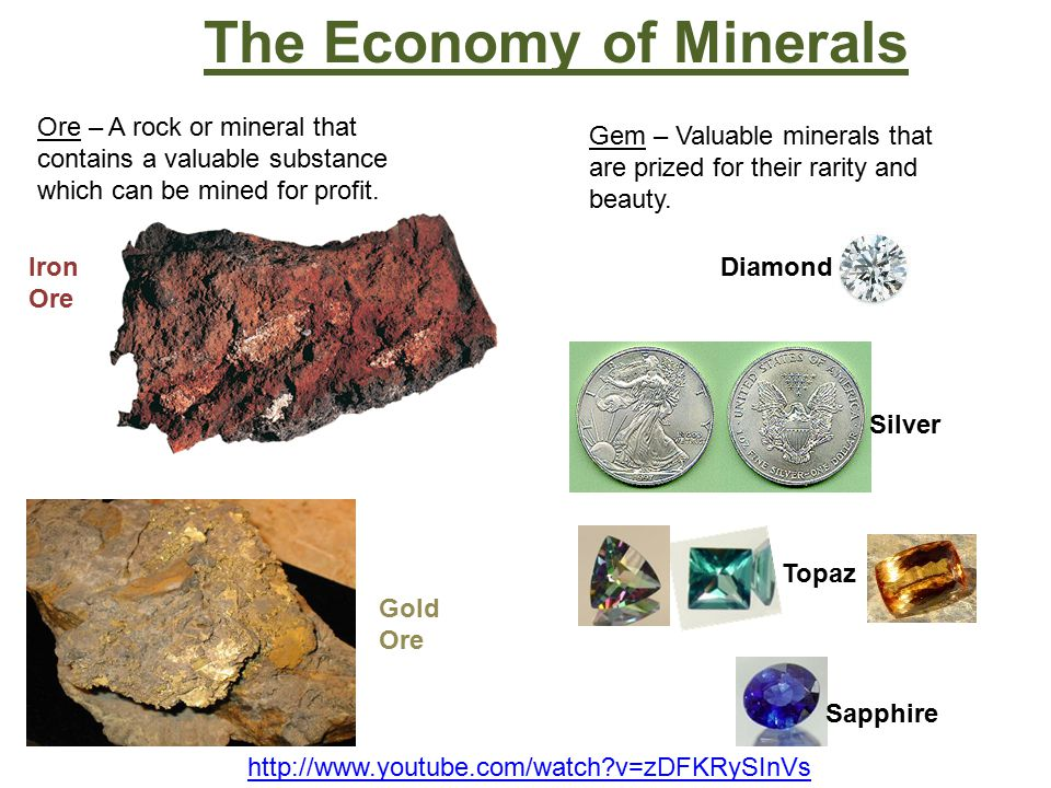 The Economy of Minerals Ore – A rock or mineral that contains a valuable substance which can be mined for profit.