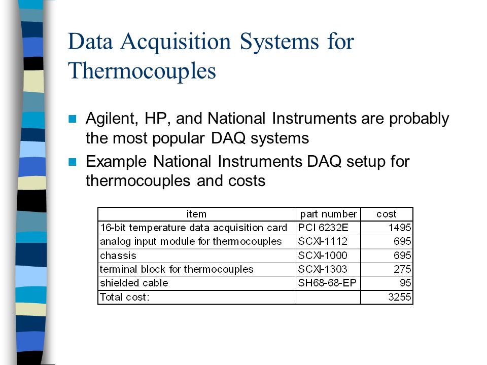 Data Acquisition Systems for Thermocouples Agilent, HP, and National Instruments are probably the most popular DAQ systems Example National Instrument
