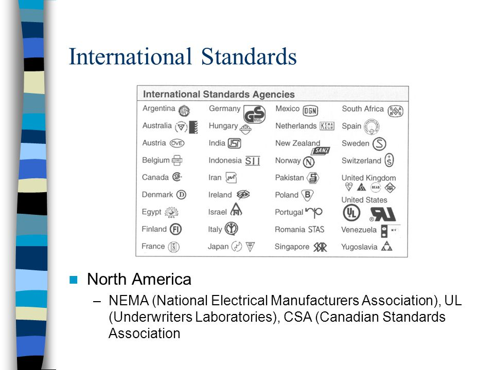 International Standards North America –NEMA (National Electrical Manufacturers Association), UL (Underwriters Laboratories), CSA (Canadian Standards A